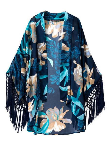 New Blue Floral Spring Thin Wrapped Cape