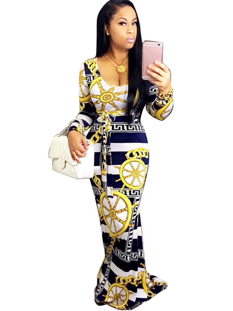 New Yellow Print Summer Patchwork Slim  Dress